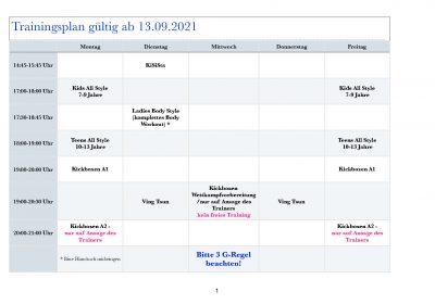 Trainingsplan Herbst/Winter 2021